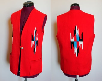 Americraft Chimayo red wool vest size 16