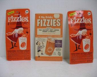 Vintage Fizzies Lot 2 Unopened Orange Witch Packs & Display or Ink Blotter Card Soft Drink Tablet Halloween Candy