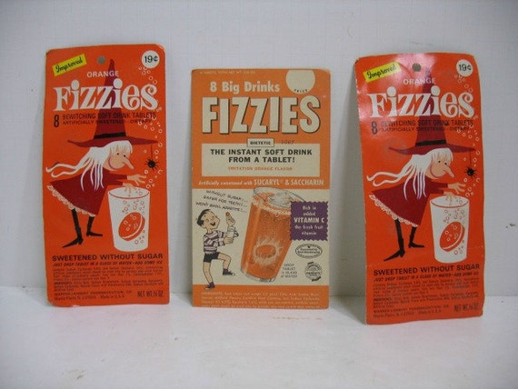 2 Fizzies Soft Drink Tablet Packages, Unopened Orange Witch Packs Plus Display or Ink Blotter Card, Vintage Halloween Candy