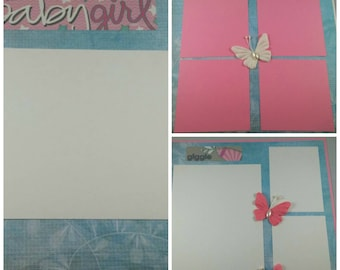 Baby Girl, Pre-Made Scrapbook Album Pages, Set of 3, Infant, New Born, New Mother Mom, 8x8 works on 12x12 Layout