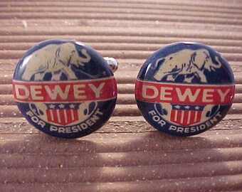 Cuff Links Dewey For President Vintage Political Campaign Buttons - Free Shipping to USA