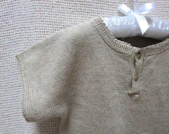 Toddler Crew Neck Knit Pure Linen Shirt