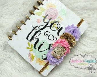 Planner band, Gold Notebook, glitter elastic notebook band closure, bookmark erin condren, filofax, kikkik