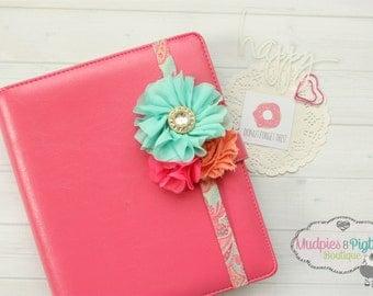 Floral Flirt ~ Planner band or elastic baby headband, coral, hot pink, aqua, spring, shabby chic, 1st birthday, kikkik photography prop