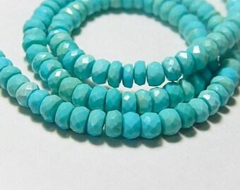 Sleeping Beauty Turquoise Gemstone. Faceted Turquoise Rondelle Gemstone, 5mm. Semi Prescious Gemstone. Strand Your Choice... (jsbt).