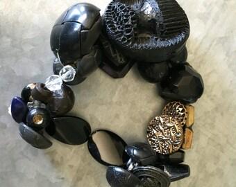 Vintage Black and Gold Button Bracelet
