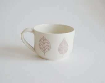 Porcelain Mug with Leaves / Ceramic Cup / Ceramic Mug / Handmade Porcelain Cup with Leaf Decals - Mothers Day Gift