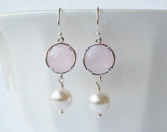 Summer Jewelry Sale ! \Pink Crystal Pearl Silver Drop Earrings