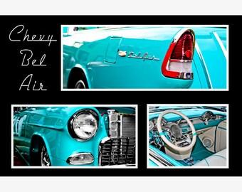 Chevrolet Bel Air Blue Car Collage Photography, Automotive, Auto Dealer, Muscle, Sports Car, Mechanic, Boys Room, Garage, Dealership Art