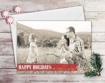 Photo Holiday Card - Christmas Photo Card - New Years Photo Card - Red Banner - Winter Holiday Card - Full Bleed Photo - WH159