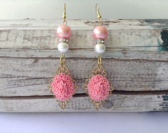 Soft Pink Floral and Pearl Drop Earrings