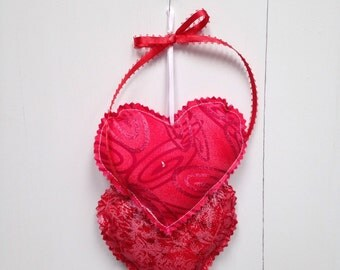 Red Heart Hangings, Valentine Hearts Wall hanging, Fabric Hearts Wall Hanging, Wall Decorations