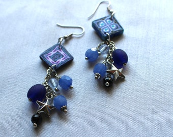 Blue and Purple Beaded Dangle Earrings
