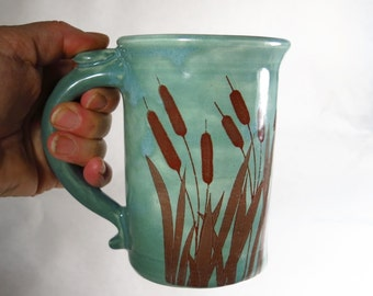 Cat Tails Teal Coffee Mug Sepia Decal Cattails with Frogs