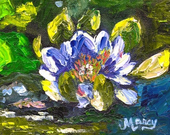 """Original Oil Painting, """"Blue Water Lily"""", 6""""x4"""" on Canvas Panel"""