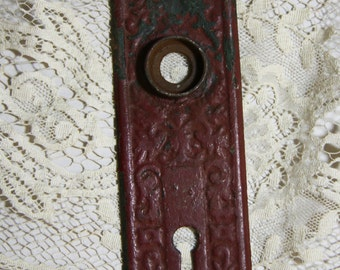 Red Chippy Paint- ESCUTCHEON Plate-Old Door Hardware- Salvaged Door Plate