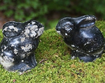 Vintage Yard Ornament- Black BUNNY- Book Ends- Plaster Chalkware Rabbits- Chipped Paint- Distressed Animal Statue