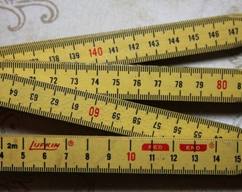 Yellow Wooden Extension RULER inches and meters- Lufkin- Pergo- Folding Ruler- J08