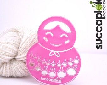 Imperial / Inch Olga-puiccomitta-Knitting Needle gauge (US), Sturdy pink gauge for measuring knitting needle's, Made out of recycled plastic