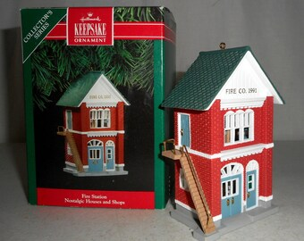1991 Hallmark Ornament Nostalgic Houses and Shops Series Fire Station #8 Dalmation