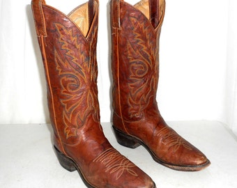 Mens 7.5 D Justin Distressed Cowboy Boots Brown Urban Folk Country Womens Size 9