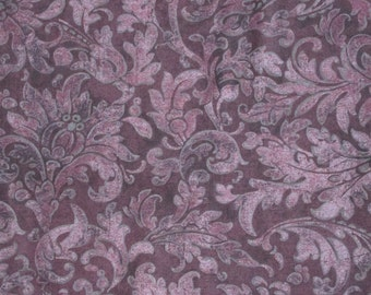 "Jinny Beyer RJR All Cotton Print Fabric Porcelana Floral Tone on Tone 45"" wide BTY OOP Dusty Purple Wine"