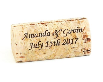Personalized Wine Cork Escort Card Holders - Front Print Only - Wedding Place Card Holders