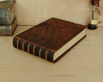 Leather Journal, Artist Sketchbook - Antiqued Brown Leather - A Moment in Time