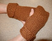 "7 1/2"" Brown Fingerless Gloves/Gauntlets"
