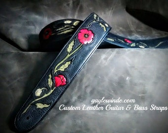 Personalized Leather Guitar Straps Priced According To Detail / Multiple Design Options / Fully Customized/ Padded/ Leather Lined/ Ergonomic