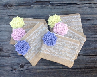 6 Pastel Wedding Clutches, Spring Wedding, Pink Wedding, Purple Bridesmaid Clutches, Yellow Bridesmaid Gifts, Bridal Clutch, Burlap and Lace
