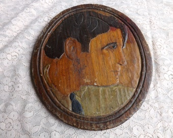 FREE SHIPPING RARE wood carving wooden plaque art vintage portrait (Vault 18)