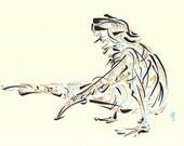 Yoga Art -- Original color drawing on paper // Eka Hasta Bhujasana
