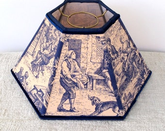 Blue Hurricane Lamp Shade, Lampshade Vintage French Toile, 5x12x7 High, Navy Hex Chimney - Traditional Classic