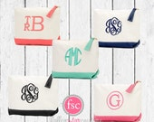 SIX bridesmaid bags , bridesmaid make-up bags, monogrammed bag, wedding bag , bridesmaid gifts , personalized bridesmaid gifts