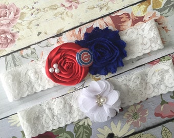 Cubs Wedding garter / bridal  garter/  lace garter / chicago baseball garter