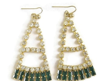 Vintage Emerald Green and Clear Rhinestones Dangle Deco style Earrings