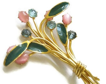 Vintage Green Enamel, Pink Glass Moonstones and Blue Rhinestones Floral or Flower Brooch or Pin