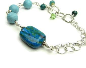 Blue Lagoon Asymmetrical Turquoise and Chrysocolla Sterling Silver Bracelet - Blue Bracelet - Silver Bracelet - BlueLagoon