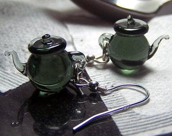Smoke Grey Green Tea Tiny Teapots - Glass Dangling Earrings SRA