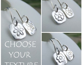 Sterling Silver Earrings - STAMPED FLOWER SQUARES - Little Flowers - Six Petals, Pansy or Blossom - Hand Stamped Textured Metalwork Jewelry