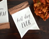 Best Day Ever Banner, Wood Wedding Sign, Calligraphy Quote Art, Wedding Photo Prop, Linen Anniversary, Rustic Wedding Sign, Engagement Gift