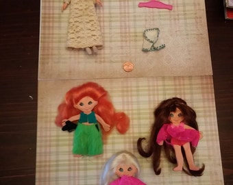 SALE Vintage Flatsy Doll lot Dewie, Filly, Candy and Fashion Dolls 1960's IDEAL