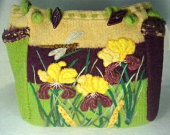 Felted Tote,Felted Purse,Felted Bag,Extra Large, Iris in bloom, dragonfly