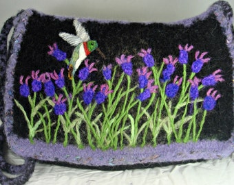 Felted Purse,Felted Handbag, Lavender Art, Hummingbird Art, Needle Felt Flower, Flower Art