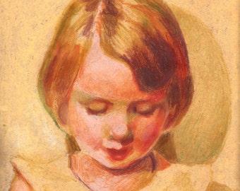 Sweet Lemon Girl- original art portrait - Pastel drawing - Illustration- color pencils drawing, Human Face , child portrait-original artwork