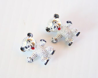 Teddy Bears Brooch Vintage Little Scatter Pins Silvertone with Enamel Accents Adorable Teddy Bear Figural Pins