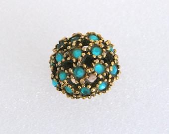Aqua Blue Rhinestone Ring Vintage Cluster Ring Domed Antiqued Goldtone Statement Ring
