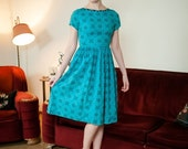 50% OFF SALE - Vintage 1950s Dress - Cute Turquoise and Black 50s Crisp Cotton Day Dress with Matching Ties