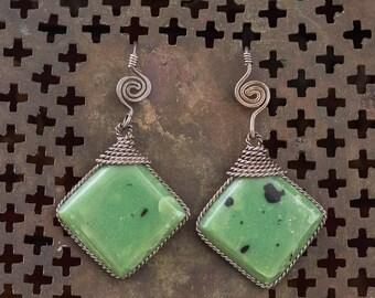 Faux Jade Twisted Wire Encased Earrings